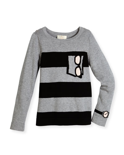 trompe l'Oeil sunglasses striped sweater, gray, size 2-6