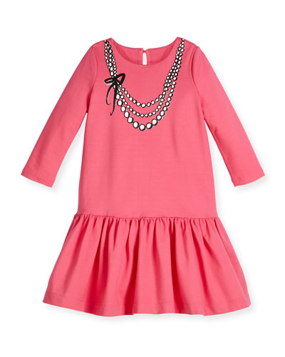 tromp l'Oeil pearls jersey dress, coral, size 7-14
