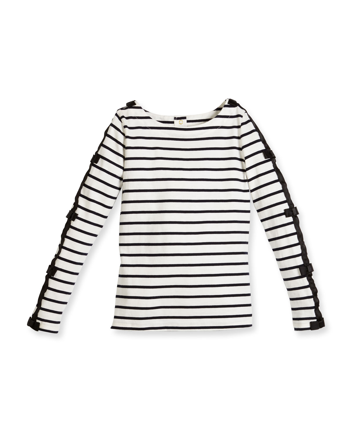 long-sleeve striped bow-trim top, navy/white, size 7-14