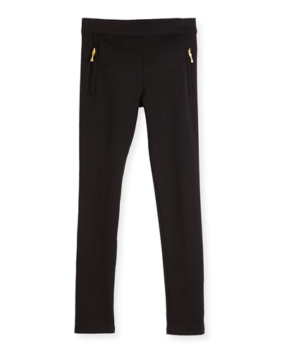 zip-trim ponte leggings, black, size 7-14