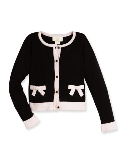cotton two-tone cardigan, black, size 7-14