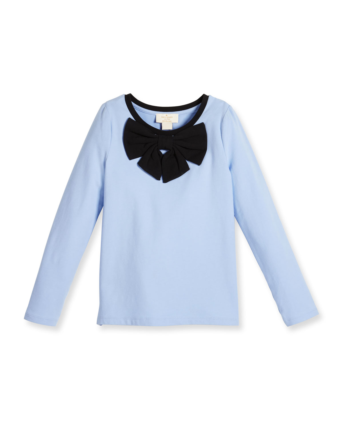 long-sleeve stretch jersey tee w/ bow, blue, size 7-14