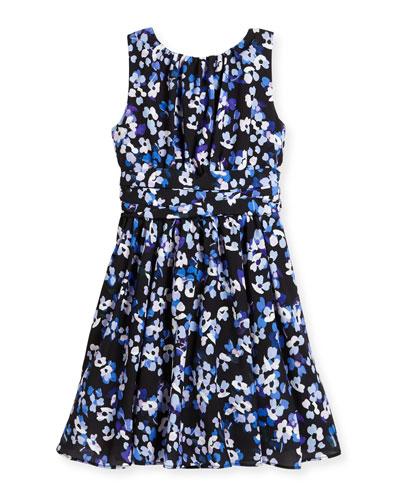 sleeveless floral crepe dress, blue/black, size 7-14