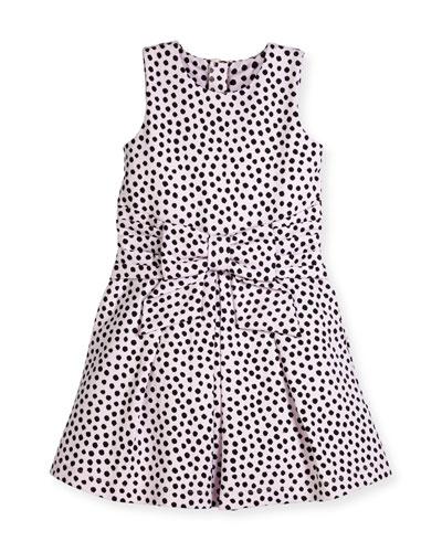 jillian sleeveless ponte polka-dot dress, pink/black, size 7-14