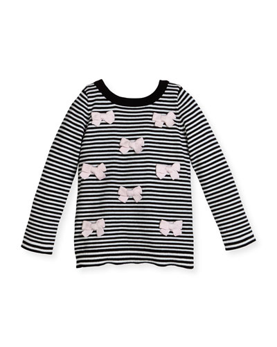 greta long-sleeve striped bow top, black/white, size 2-6