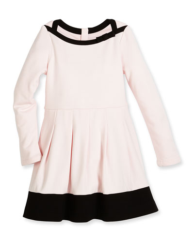 selma long-sleeve pleated two-tone dress, pink, size 2-6