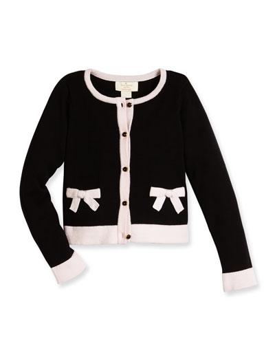 cotton two-tone cardigan, black, size 2-6