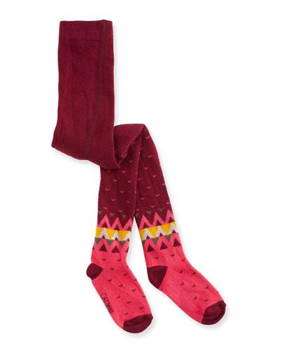 Heart & Chevron Knit Tights, Bordeaux, Size 9M-3