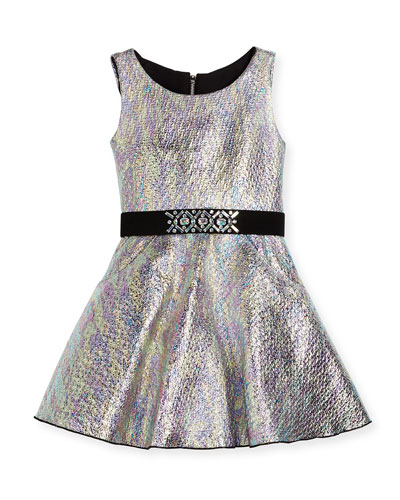 Sleeveless Metallic Fit-and-Flare Dress, Multicolor, Size 7-16