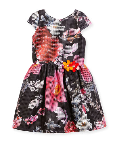 Cap-Sleeve Floral Mesh Dress, Multicolor, Size 2-6