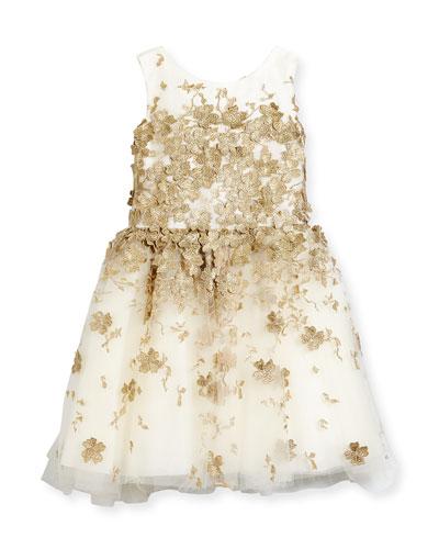 Sleeveless Metallic Leaf Party Dress, Gold, Size 2-6