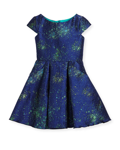 Cap-Sleeve Celestial Jacquard Fit-and-Flare Dress, Blue, Size 4-6