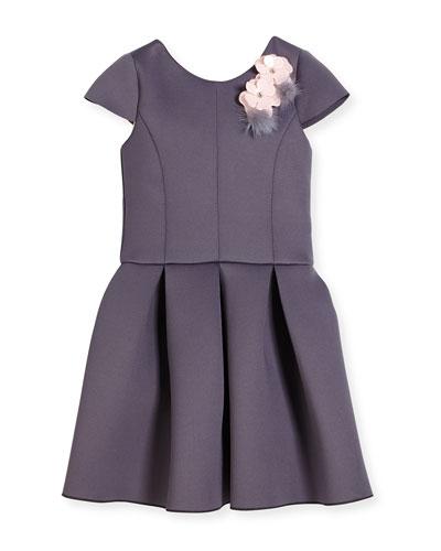 Cap-Sleeve Scuba Party Dress, Gray, Size 4-6