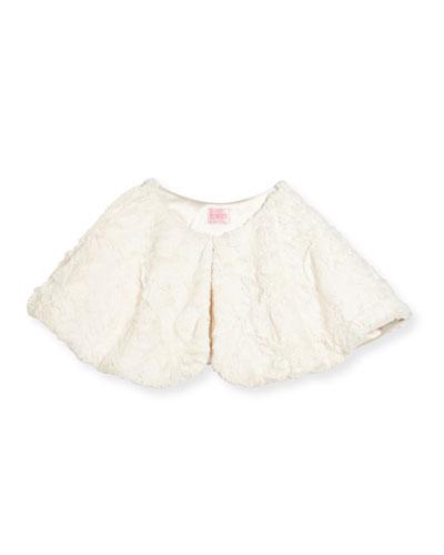 Faux-Fur Capelet, Cream, Size 2-6X