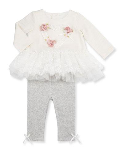 Peplum Heart Top w/ Heathered Leggings, Ivory, Size 3-24 Months