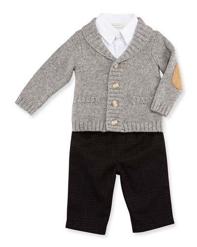 Shawl-Collar Sweater, Button-Front Shirt & Glen Plaid Pants, Gray, Size 6-24 Months