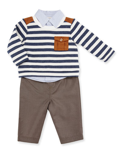 Striped Pullover Sweater, Long-Sleeve Cotton Shirt & Khaki Pants, Navy, Size 12-24 Months