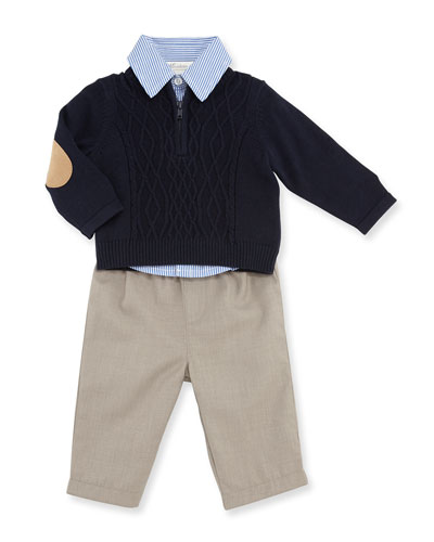 Half-Zip Sweater, Striped Shirt & Khaki Pants, Navy, Size 12-24 Months