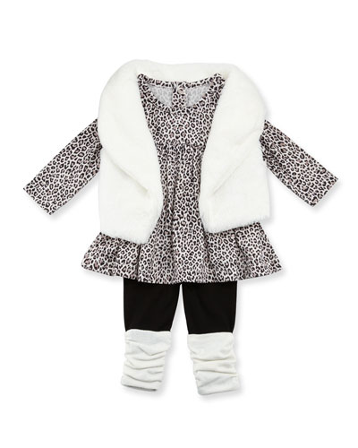 Faux-Fur Vest, Animal-Print Swing Dress & Stretch Leggings, Ivory, Size ...