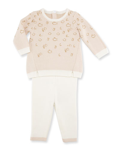 Animal-Print Sweater w/ Pants, Pink, Size 3-9 Months