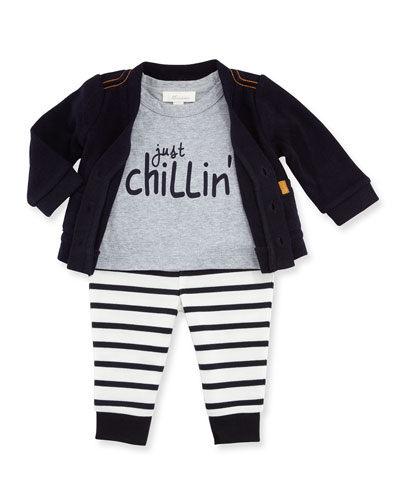 Knit Cardigan w/ Jersey Tee & Striped Leggings, Navy, Size 3-9 Months ...