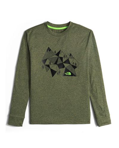 Long-Sleeve Reaxion Geometric Mountain Tee, Green, Size XXS-XL