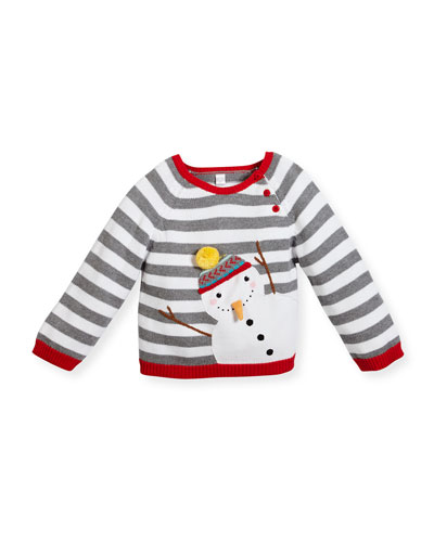 Kids' Striped Snowman Sweater, White, Size 2-6X