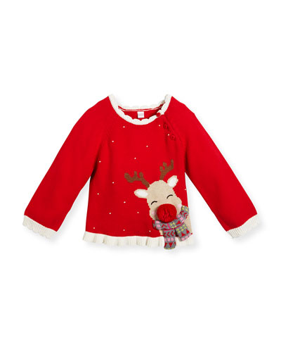 Girls' Cotton Reindeer Sweater, Red, Size 2-6X