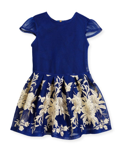 Cap-Sleeve Pleated Floral Mesh Dress, Blue, Size 3-6