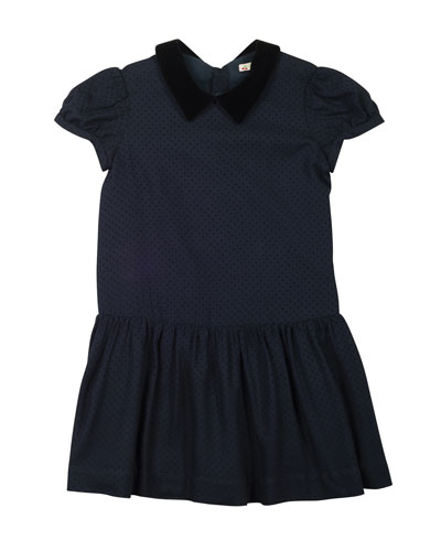 Swiss Dot Velvet-Trim Dress, Navy, Size 3-8