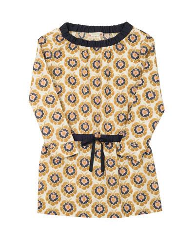 Long-Sleeve Floral Poplin Dress, Yellow, Size 3-8