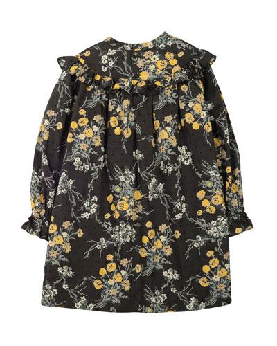 Long-Sleeve Pleated Ruffle-Trim Shift Dress, Black/Gray/Mustard, Size 3-8