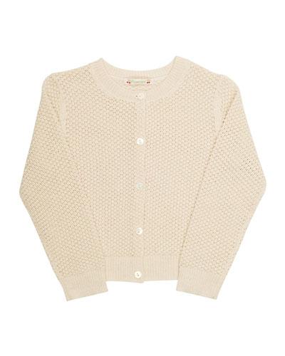 Wool Crochet Cardigan, Beige, Size 3-8