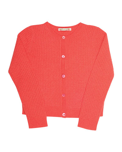 Pointelle Cashmere Cardigan, Pink, Size 3-8