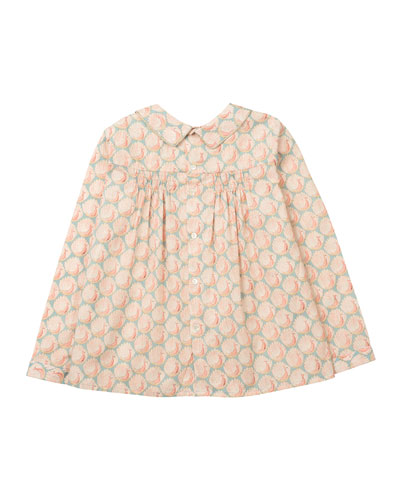 Shirred Poplin Peacock Blouse, Pink, Size 3-8