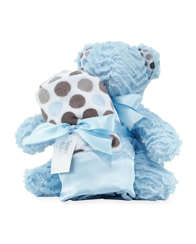 Swankie Blankie Ziggy Bear & Blanket Gift Set, Blue