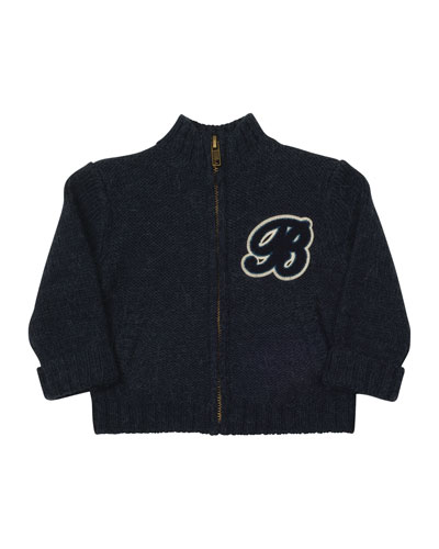 Knit Zip-Front Cardigan, Navy, Size 12M-2