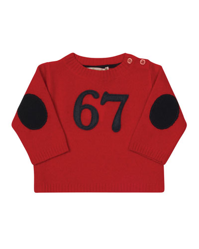 67 Wool-Blend Pullover Sweater, Red, Size 12M-2
