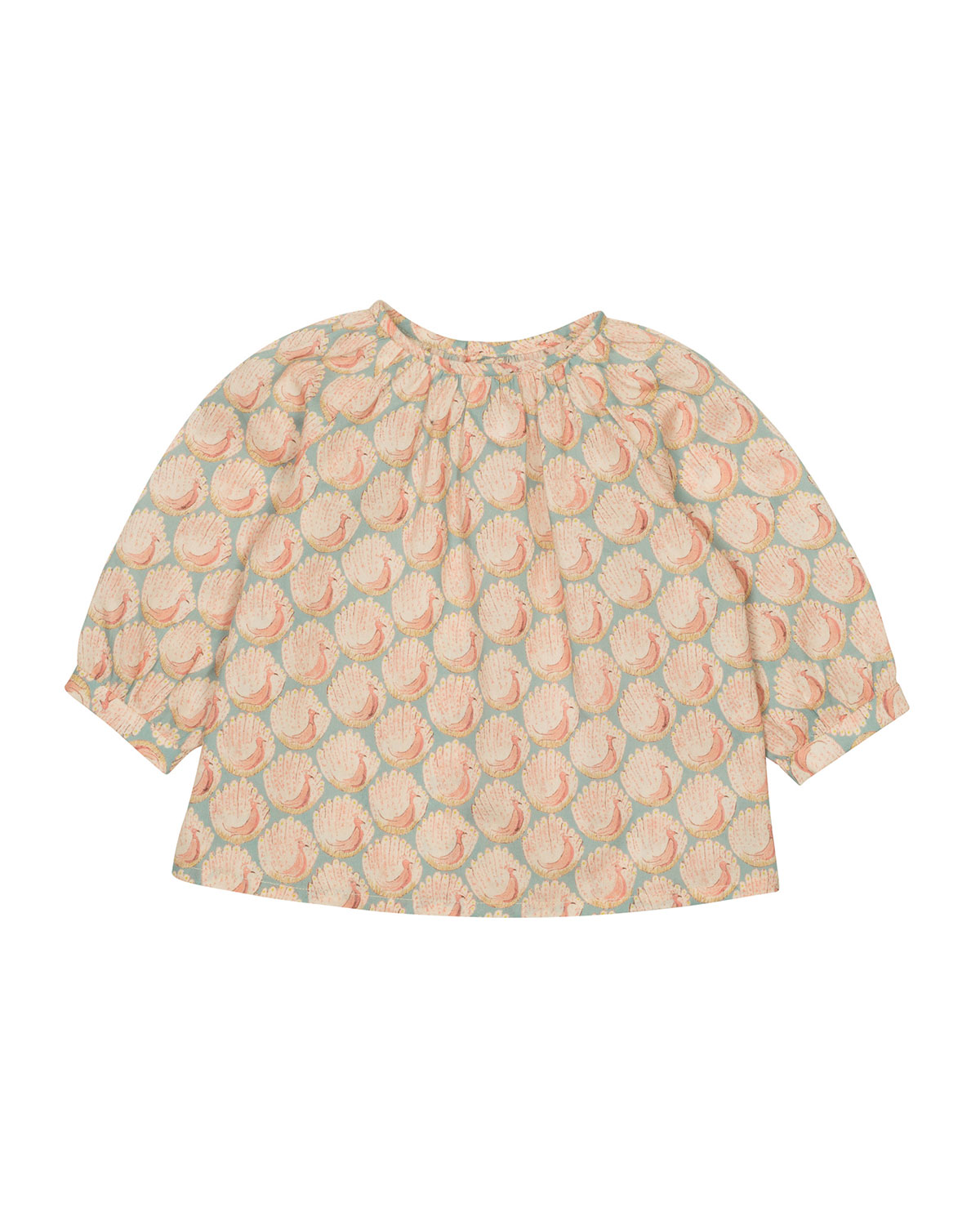 Long-Sleeve Poplin Peacock Blouse, Light Pink, Size 6M-2