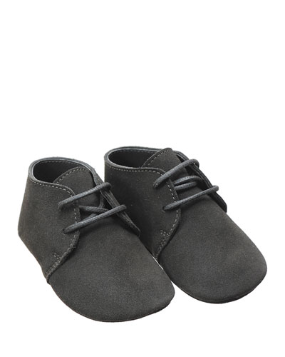 Leather Lace-Up Oxford, Gray, Infant