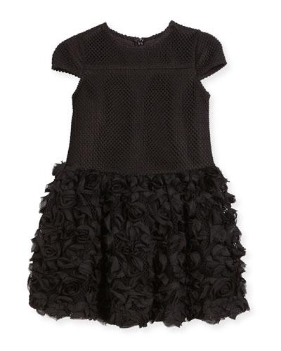 Cap-Sleeve Mesh Ruffle Rose Shift Dress, Black, Size 3-6