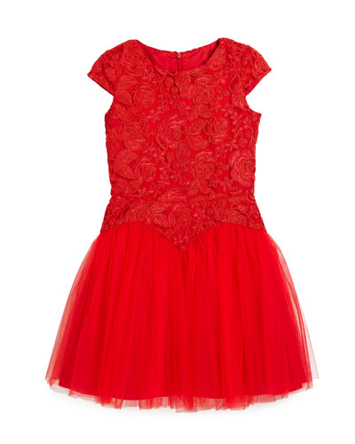 Cap-Sleeve Lace & Tulle Party Dress, Red, Size 6-16