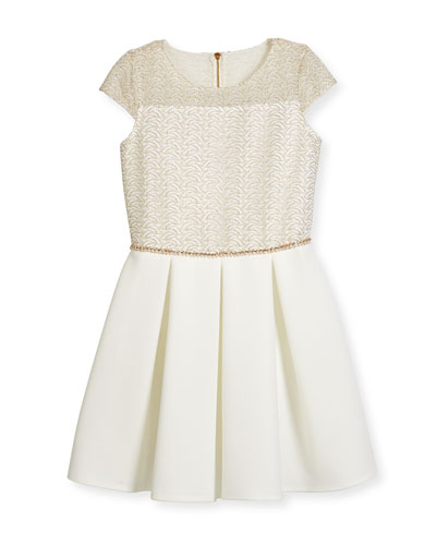 Cap-Sleeve Lace & Ponte Combo Dress, Ivory/Gold, Size 6-14