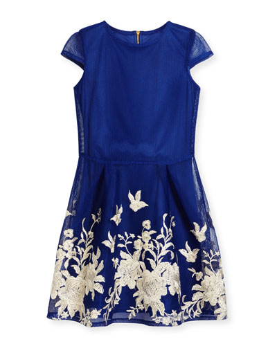 Cap-Sleeve Pleated Floral Mesh Dress, Blue, Size 8-16