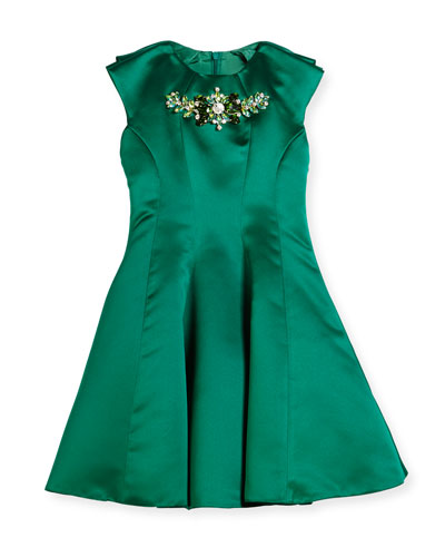Embellished Satin Party Dress, Green, Size 8-16