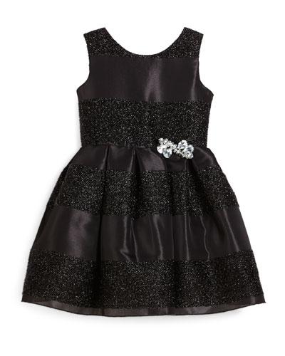 Sleeveless Jacquard Striped Party Dress, Black, Size 7-16