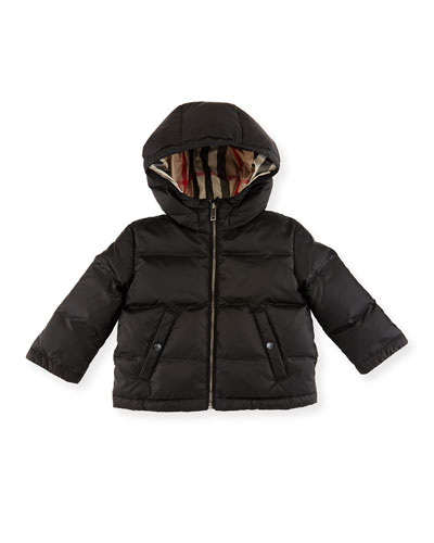 Rio Hooded Puffer Jacket, Black, Size 6M-3Y
