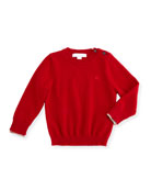 Gethin Cashmere Pullover Sweater, Military Red, Size 6M-3Y