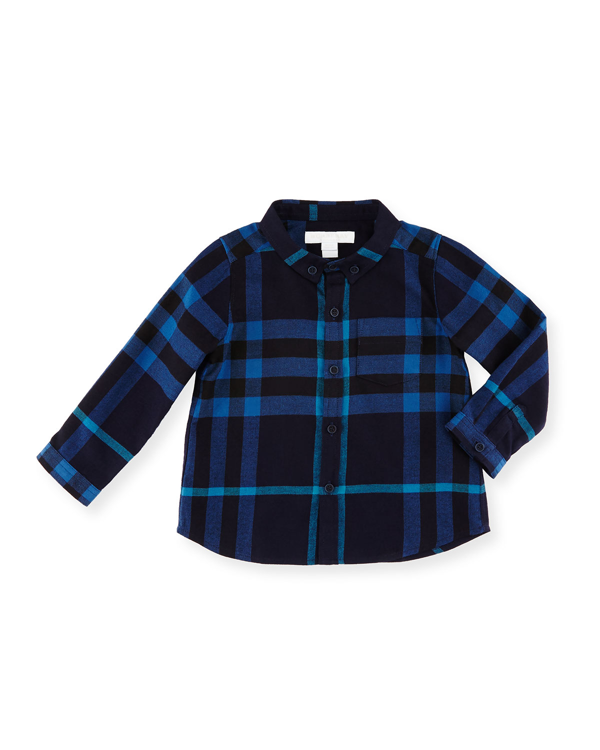 Fred Mini Long-Sleeve Check Shirt, Navy, Size 6M-3Y