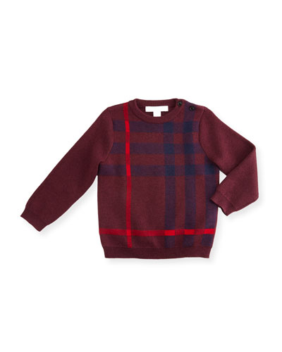 Redbury Jacquard-Check Pullover Sweater, Dark Teal, Size 6M-3Y